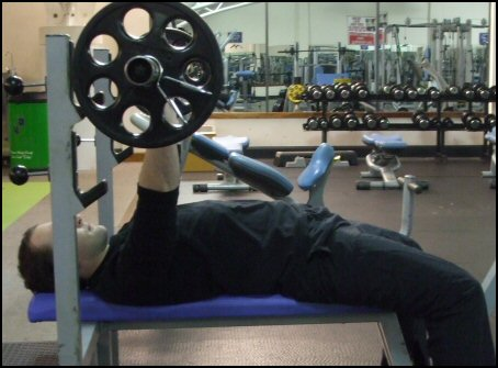 The correct finishing position for the Bench Press