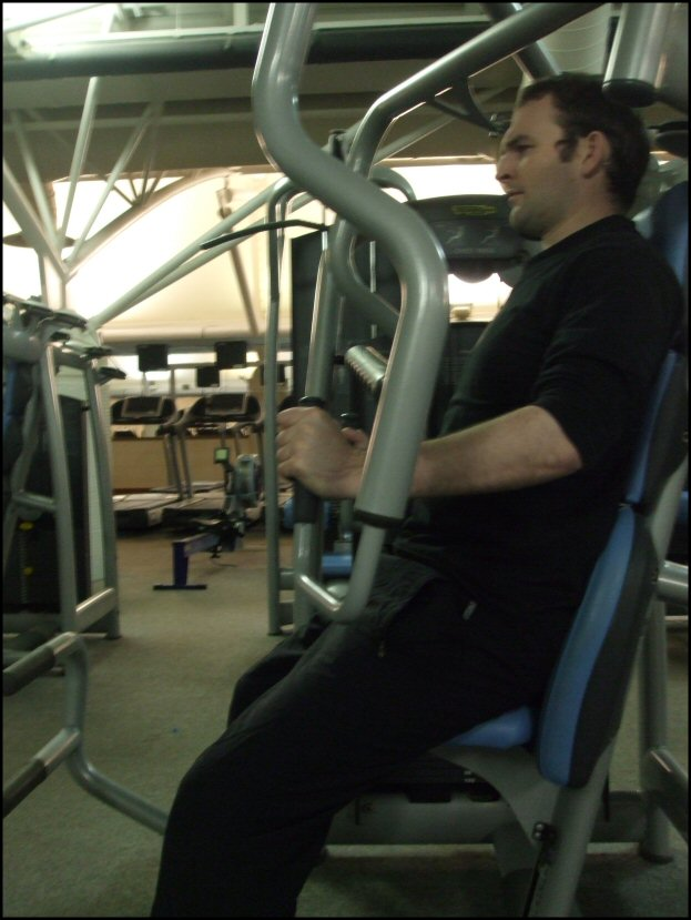 The above image shows the WRONG WAY to do a static Bench or Chest Press. The hands are far too low. Learn the right way to train at www.IsometricMastery.com